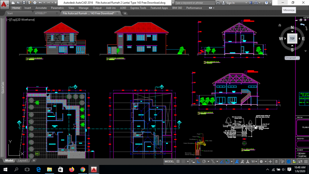 File Autocad Rumah 2 Lantai Type 143 Free Download