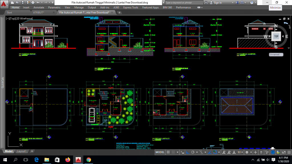 File Autocad Rumah Tinggal Minimalis 2 Lantai Free Download