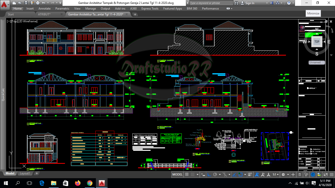 Gambar Gereja File Autocad 2 Lantai Free Download