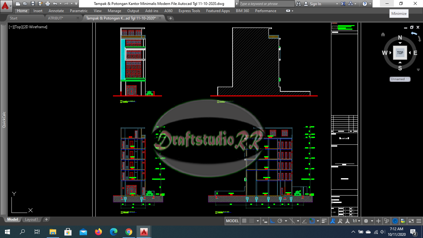Kantor Minimalis Modern File Autocad Free Download